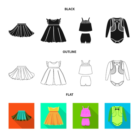 Vector illustration of fashion and garment icon. Collection of fashion and cotton stock vector illustration. 일러스트