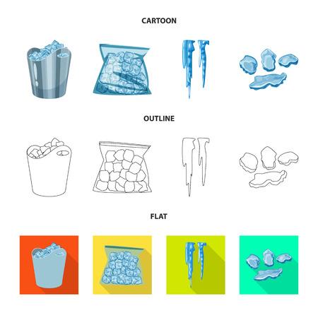 Diseño vectorial de textura y símbolo congelado. Conjunto de ilustración vectorial de textura y stock transparente. Ilustración de vector