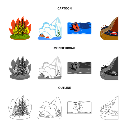 Vector design of weather and distress sign. Set of weather and crash vector icon for stock.
