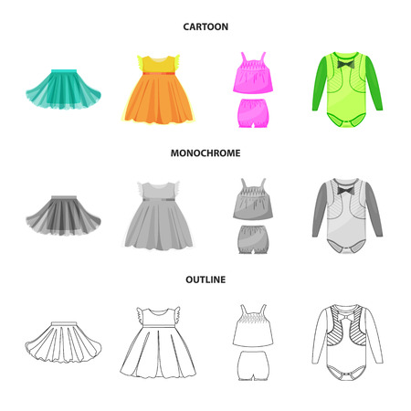 Vector illustration of fashion and garment icon. Collection of fashion and cotton stock symbol for web. 일러스트
