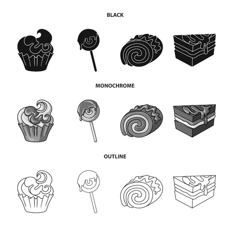 Isolated object of confectionery and culinary sign. Collection of confectionery and product stock vector illustration.