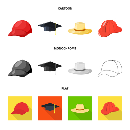 Vector design of clothing and cap logo. Collection of clothing and beret stock vector illustration.