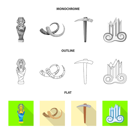 Vector design of story and items symbol. Set of story and attributes stock symbol for web.