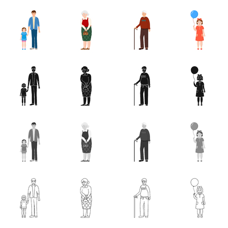 Isolated object of character and avatar icon. Collection of character and portrait stock symbol for web.