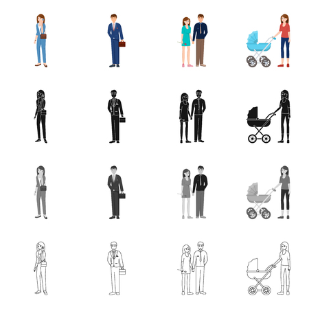 Isolated object of character and avatar  sign. Collection of character and portrait stock symbol for web. Ilustrace