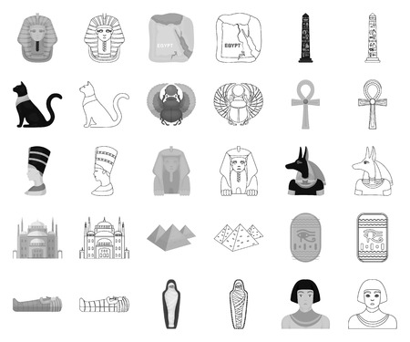 Ancient Egypt monochrome,outline icons in set collection for design. The reign of Pharaoh vector symbol stock web illustration.  イラスト・ベクター素材