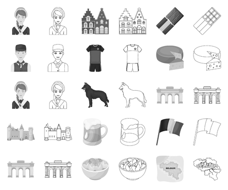 Country Belgium monochrome,outline icons in set collection for design.Travel and attractions Belgium vector symbol stock web illustration.