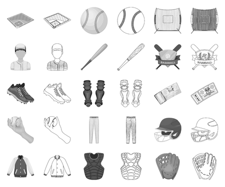 Baseball and attributes monochrome,outline icons in set collection for design.Baseball player and equipment vector symbol stock web illustration.