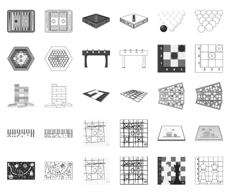 Board game monochrome,outline icons in set collection for design. Game and entertainment vector symbol stock web illustration.