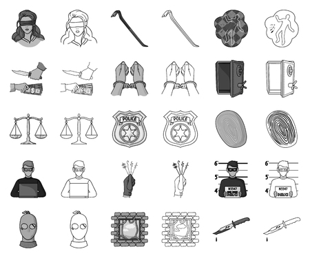 Crime and Punishment monochrome,outline icons in set collection for design.Criminal vector symbol stock web illustration. Vettoriali