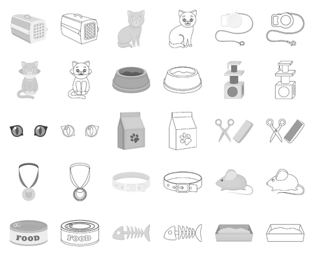 An animal cat monochrome,outline icons in set collection for design. Caring for a cat vector symbol stock web illustration.