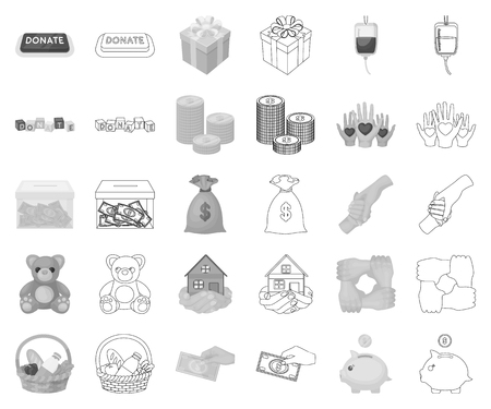 Charity and donation monochrome,outline icons in set collection for design. Material aid vector symbol stock web illustration.