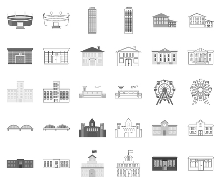 Building repair monochrome,outline icons in set collection for design.Building material and tools vector symbol stock web illustration. Çizim