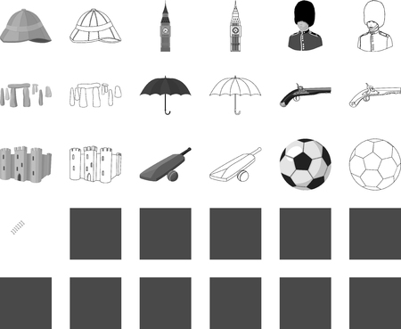 England country monochrome,outline icons in set collection for design.Travel and attractions vector symbol stock web illustration.