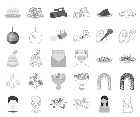 Event Organisation monochrome,outline icons in set collection for design.Celebration and Attributes vector symbol stock web illustration.