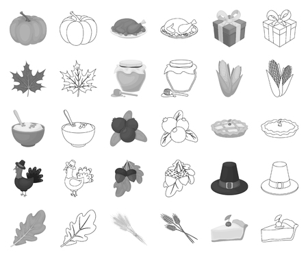 Canada Thanksgiving Day monochrome,outline icons in set collection for design. Canada and Tradition vector symbol stock web illustration. Ilustração