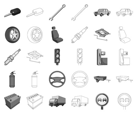 Car, vehicle monochrome,outline icons in set collection for design. Car and equipment vector symbol stock web illustration.