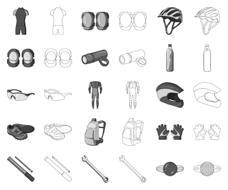 Bicycle outfit monochrome,outline icons in set collection for design. Bicycle and tool vector symbol stock web illustration.