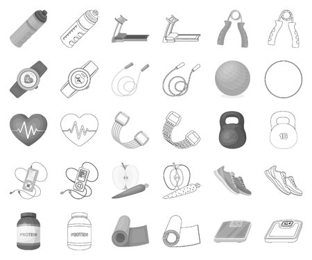 Gym and training monochrome,outline icons in set collection for design. Gym and equipment vector symbol stock illustration.