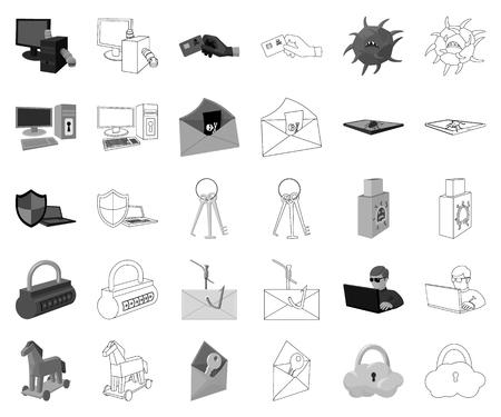 Hacker et piratage monochrome,icônes de contour dans la collection de jeu pour la conception. Hacker et équipement vecteur symbole stock illustration web.