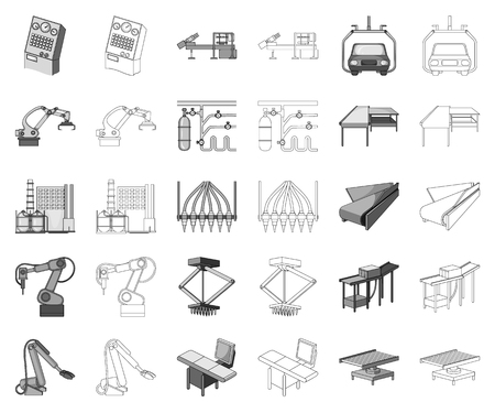 Equipment and machine monochrome,outline icons in set collection for design.Technical progress of the factory vector symbol stock web illustration.