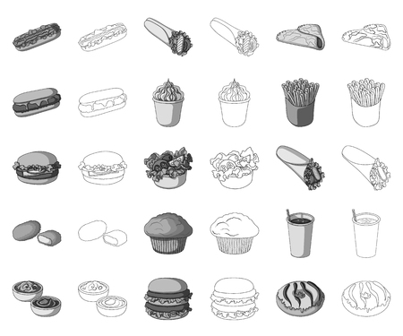 Fast food monochrome,outline icons in set collection for design.Food from semi-finished products vector symbol stock web illustration.