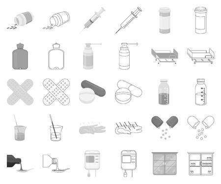 Medicine and treatment monochrome,outline icons in set collection for design. Medicine and equipment vector symbol stock web illustration. Vektorgrafik