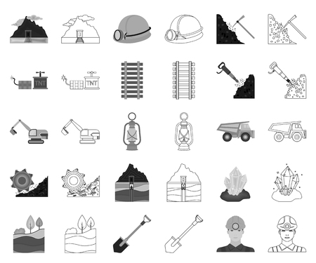 Mining industry monochrome,outline icons in set collection for design. Equipment and tools vector symbol stock web illustration.