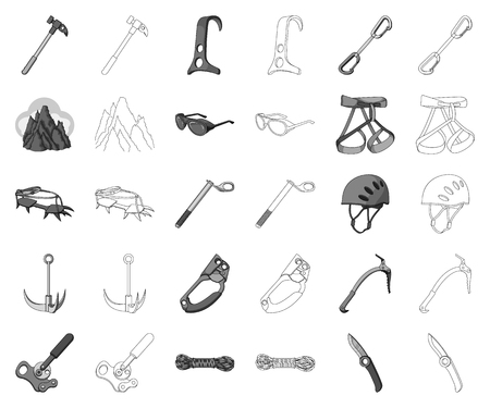 Mountaineering and climbing monochrome,outline icons in set collection for design. Equipment and accessories vector symbol stock web illustration.