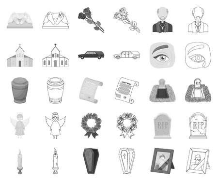 Funeral ceremony monochrome,outline icons in set collection for design. Funerals and Attributes vector symbol stock web illustration.
