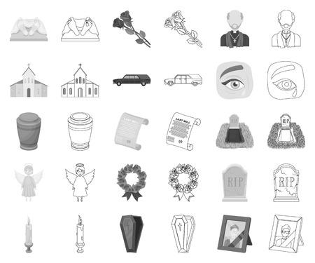 Trauerzeremonie Monochrom, Umrisssymbole in Set-Sammlung für Design. Begräbnisse und Attribute vector Symbolvorrat-Netzillustration.