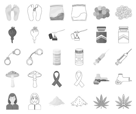 Drug addiction and attributes monochrome,outline icons in set collection for design. Addict and Drug vector symbol stock web illustration.