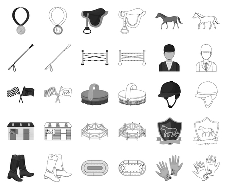 Hippodrome and horse monochrome,outline icons in set collection for design. Horse Racing and Equipment vector symbol stock web illustration.