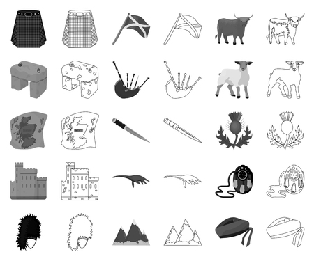 Country Scotland monochrome,outline icons in set collection for design. Sightseeing, culture and tradition vector symbol stock web illustration. Illustration