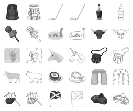 Country Scotland monochrome,outline icons in set collection for design. Sightseeing, culture and tradition vector symbol stock web illustration.