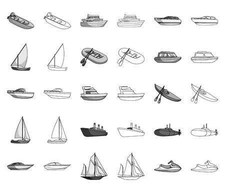 Water and sea transport monochrome,outline icons in set collection for design. A variety of boats and ships vector symbol stock web illustration.