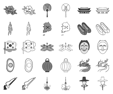 Country South Korea monochrome,outline icons in set collection for design.Travel and attraction vector symbol stock web illustration.