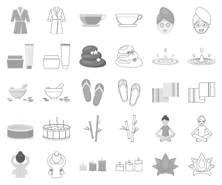 Spa salon and equipment monochrome,outline icons in set collection for design. Relaxation and rest vector symbol stock web illustration.