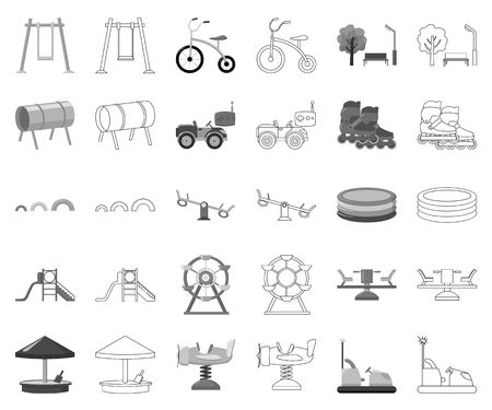 Playground, entertainment monochrome,outline icons in set collection for design. Attraction and equipment vector symbol stock web illustration.