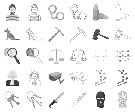 Prison and the criminal monochrome,outline icons in set collection for design.Prison and Attributes vector symbol stock illustration.