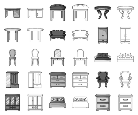 Furniture and interior monochrome,outline icons in set collection for design.Home furniture vector symbol stock web illustration. Illustration