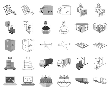 Logistics and delivery monochrome,outline icons in set collection for design. Transport and equipment isometric vector symbol stock web illustration.