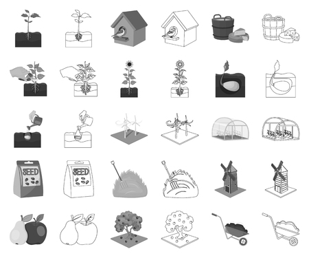 Farm and agriculture monochrome,outline icons in set collection for design. Garden and plants isometric vector symbol stock web illustration. Stock Illustratie