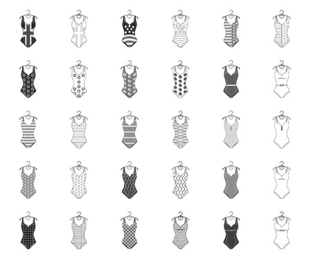 Different types of swimsuits monochrome,outline icons in set collection for design. Swimming accessories vector symbol stock web illustration.