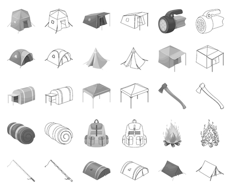 Different kinds of tents monochrome,outline icons in set collection for design. Temporary shelter and housing vector symbol stock web illustration.