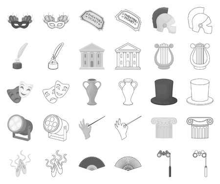 Theatrical art monochrome,outline icons in set collection for design.Theater equipment and accessories vector symbol stock web illustration.