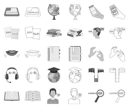 Translator and linguist monochrome,outline icons in set collection for design. Interpreter vector symbol stock web illustration. Illustration