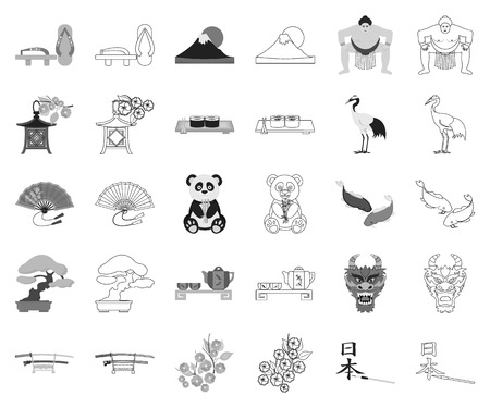 Country Japan monochrome,outline icons in set collection for design.Japan and landmark vector symbol stock web illustration.