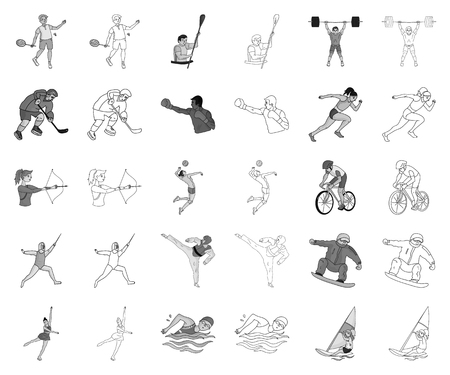 Different kinds of sports monochrome,outline icons in set collection for design. Athlete, competitions vector symbol stock web illustration.