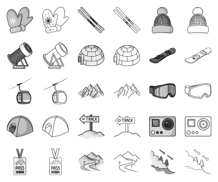 Ski resort and equipment monochrome,outline icons in set collection for design. Entertainment and recreation vector symbol stock web illustration.